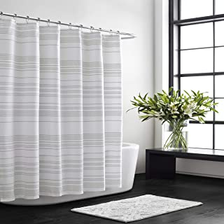 Vera Wang | Stripe Collection | 100% Cotton Lightweight Durable Shower Curtain, Simple and Elegant Style for Bathroom Déco...