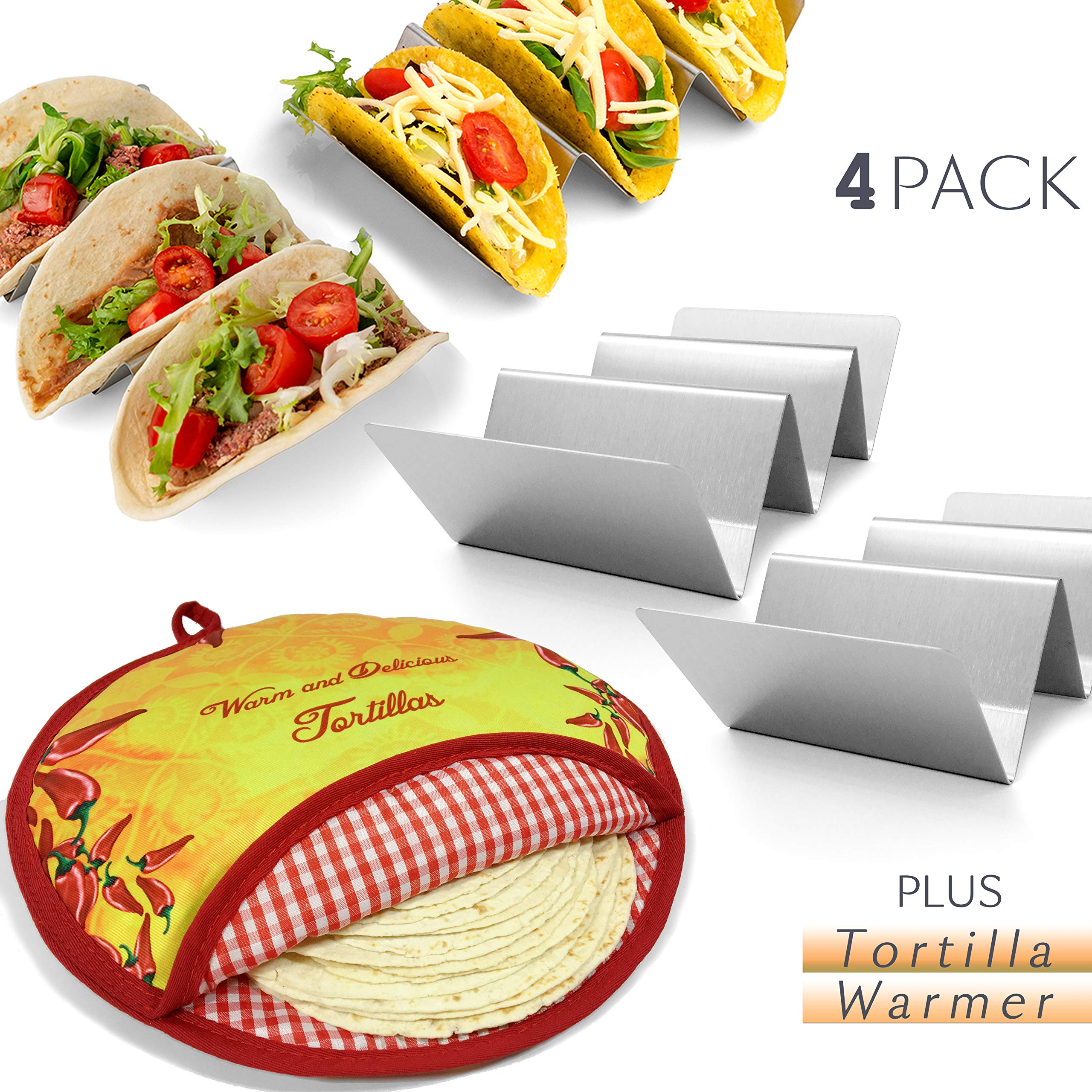 Oven TR3MARK Taco Holder Stand Rack Metal 2 Pack Bundle w// 2 Salsa//Guacamole Cups Premium Stainless Steel 2 and 3 Pocket Dishwasher Safe Grill Soft//Hard Taco Holder