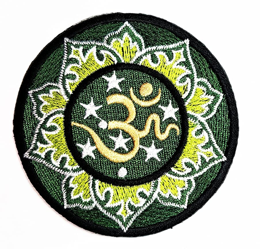 HHO Colorful Green Aum Om Ohm Hindu Yoga Indian Lotus Lucky Sign Hippie Logo Patch Embroidered DIY Patches, Cute Applique Sew Iron on Kids Craft Patch for Bags Jackets Jeans Clothes