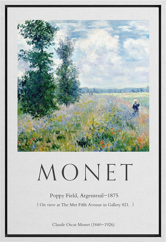 IDEA4WALL Framed Canvas Wall Art Field Max 76% OFF Poppy 1875 Master Credence Aritst