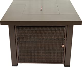 Pleasant Hearth OFG419T Rio Square Wicker Gas Fire Pit Table, 38
