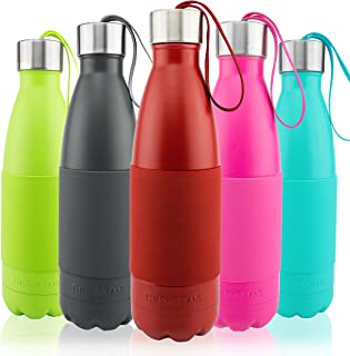 Thermo Tank Insulated Stainless Steel Water Bottle - Ice Cold 36 Hours! Vacuum + Copper Technology - Carry Loop Lid, Silicone Grip - 17 Ounce