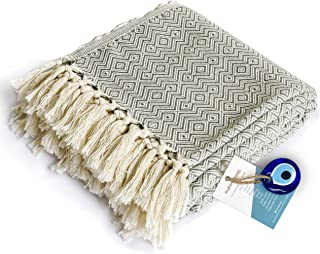 """Luxury Fringe Throw Blanket 100% Cotton Soft and Lightweight 