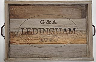Personalized Wooden Ottoman Tray, Decorative Coffee Tea Cocktail Drinks Serving Tray with Handles, Rustic Table Center Piece, Barn Wood Tray, Farmhouse Decor.