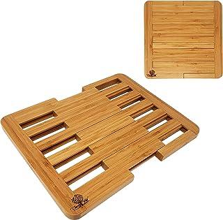 CherryTreeHouse - Salvamanteles extensible de bambú para ollas, sartenes, platos y fuentes   Protector de mesa/encimera/barra   Resistente al calor y respetuoso con el medio ambiente