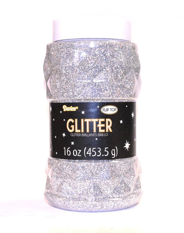 Darice 16 oz Regular Glitter in a Jar, Silver