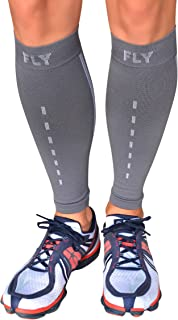 Fly Athletix Leg Compression Sleeve - Men and Women's - Odor Eliminating Coffee Yarn Fabric, Improves Circulation and Speeds Recovery - Perfect for Running, Cycling, Basketball, Training