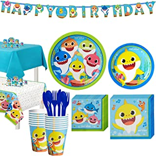 Party City Baby Shark Birthday Party Tableware Supplies for 16 Guests, Include Plates, Napkins, Banner, and Decorations