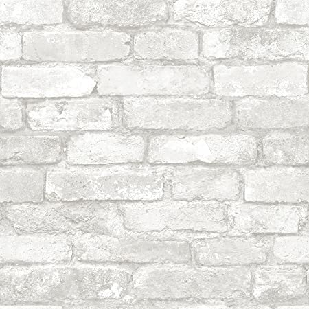 Nuwallpaper Nu3010 Grey And White Brick Peel Stick Wallpaper Home Improvement