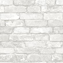 Grey and White Brick Peel and Stick Wallpaper