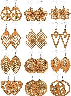 Sponsored Ad - 12 Pairs African Wooden Drop Earrings Bohemian Pendant Dangle Earrings Lightweight Ethnic Style Wood Earrin...
