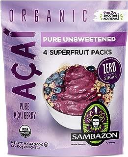 Sambazon Pure Unsweetened Açaí Smoothie Superfruit Pack, 100g, 4 Count