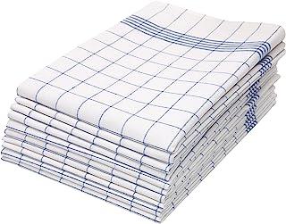 comprar comparacion ZOLLNER 10 Trapos de Cocina algodón 100%, a Cuadros Azules y Blancos, 50x70 cm