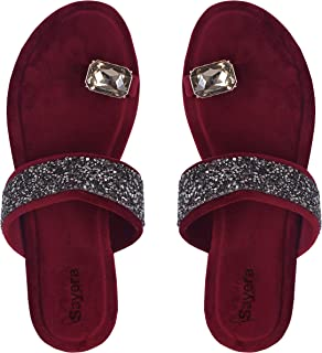Sayera Stylish Gems Sandal for Women   Sandal Chappals for Girls   Women Sandal Flat Stylish