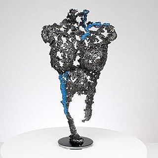 Pavarti suspiro - Mujer escultura del cuerpo de encaje de metal pigmento azul acero - Philippe Buil