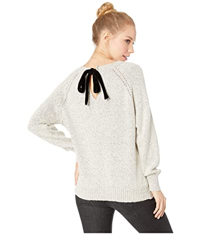 Jack by BB Dakota Secret Bow-Mance Cable Knit Sweater with Contrast Velvet Tie (Ivory) Women