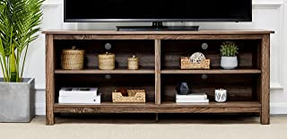 Rockpoint Plymouth 58-Inch Wood TV Stand Storage Console, Weathered Brown