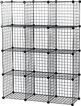 UNICOO - Multi Use DIY 12 Cube Wire Grid Organizer, Bookcase, Bookshelf, Storage Cabinet, Wardrobe Closet,Toy Organizer, Wire Cube Storage- (Black Wire)