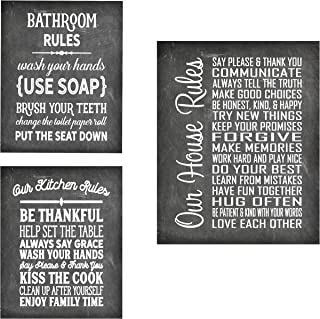 House Rules - Beautiful Photo Quality Poster Print - Decorate your home with these beautiful prints for kitchen, bath, family room, housewarming gift Made in the USA (8