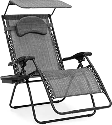 Best Choice Products Oversized Zero Gravity Reclining Lounge Patio Chair w/Folding Canopy Shade and Cup Holder - Gray