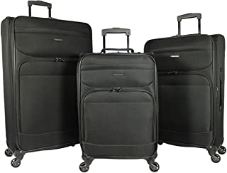 Dejuno Lisbon 3-Piece Lightweight Expandable Spinner Luggage Set, Black