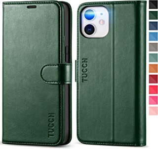 TUCCH iPhone 12 mini Case, PU Leather Wallet Case with RFID Blocking, Shockproof TPU Shell, Card Slots, Kickstand, Magneti...