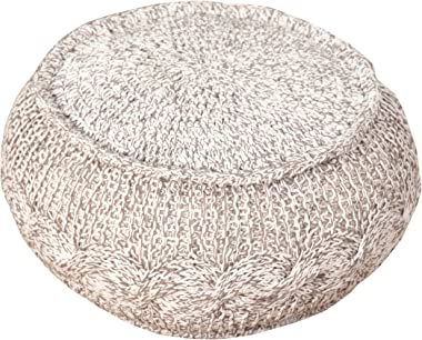 """L.R. Resources Mélange Cable Knit Pouf Ottoman, 12"""" x 20"""", Gray/Natural -"""