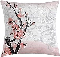 Floral Throw Pillow Cushion Cover Japanese Cherry Blossom Sakura Tree Branch Soft Pastel Watercolor Print Decorative Squar...