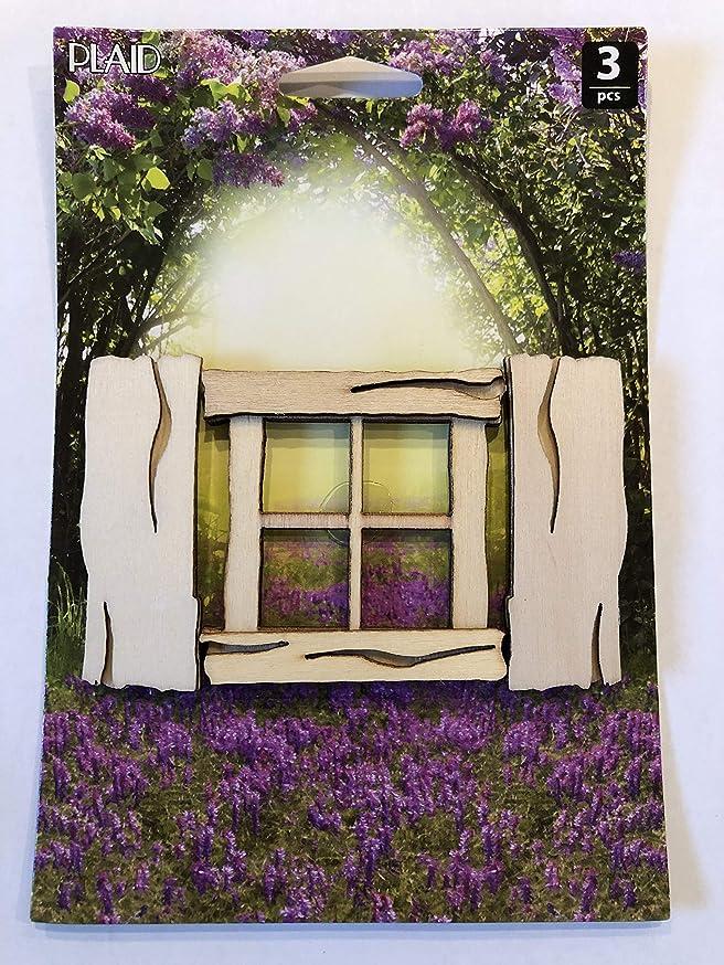 Plaid Enterprises, Inc. 22562E Rustic Window and Shutter Fairy Garden, Tan