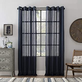 Archaeo Slub Textured Linen Blend Grommet Top Curtain, 52
