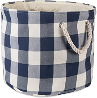 DII Polyester Storage Basket or Bin with Durable Cotton Handles, Home Organizer Solution for Office, Bedroom, Closet, Toys, Laundry, Large Round, Navy & Off-White