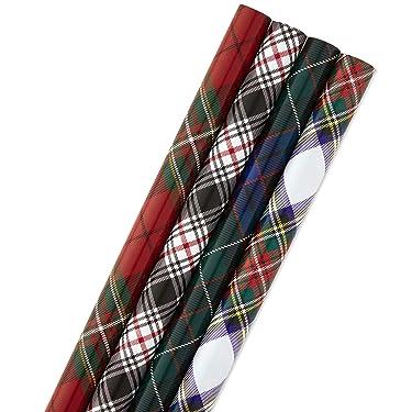 Hallmark Paquete de papel de regalo de Navidad con líneas cortadas en el reverso a cuadros, 4 unidades, 120 pies cuadrados ft. ttl) Rojo y Negro, Verde y Azul