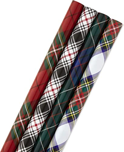 Hallmark Christmas Wrapping Paper Bundle with Cut Lines on Reverse, Plaid (Pack of 4, 120 sq. ft. ttl) Red and Black,...