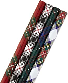 Hallmark Christmas Wrapping Paper Bundle with Cut Lines on Reverse, Plaid (Pack of 4, 120 sq. ft. ttl) Red and Black, Green and Blue
