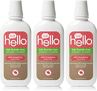 Hello Oral Care Kids ADA Approved Anticavity Fluoride Rinse, Vegan, Alcohol Free, and SLS Free, Natural Wild Strawberry Flavor, 3 Count
