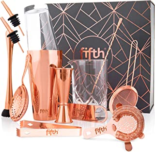 13 Piece Copper Boston Shaker Set for Bartenders or Mixologists - Home Bar Accessories Set, Stainless Steel Mixology Barte...