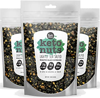 Keto Nuts Low Carb High Protein Snacks - Black Soy Nuts 14g proteins (sea salt) Keto Snacks Black Soy Beans. Vegan Healthy non gmo Gluten Free Crunchy edamame Seeds (3-Packs) zero carbs added