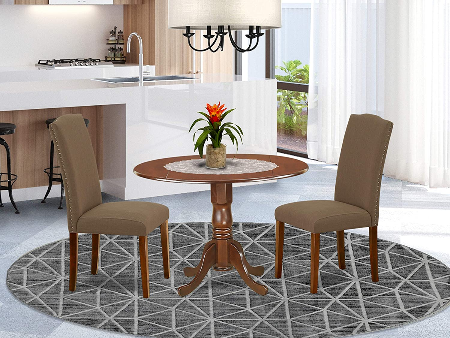 East West Furniture 9Pc Round 9 Inch Kitchen Table With Two 9 Inch Drop  Leaves And A Pair Of Parson Chair With Mahogany Leg And Linen Fabric Dark  ...