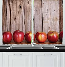 Ambesonne Fruits Decor Collection, Apples Lined Up in a Row Against a Rustic Vintage Wooden Timber Wall Delicious Image Print, Window Treatments for Kitchen Curtains 2 Panels, 55 X 39 Inches, Red Tan