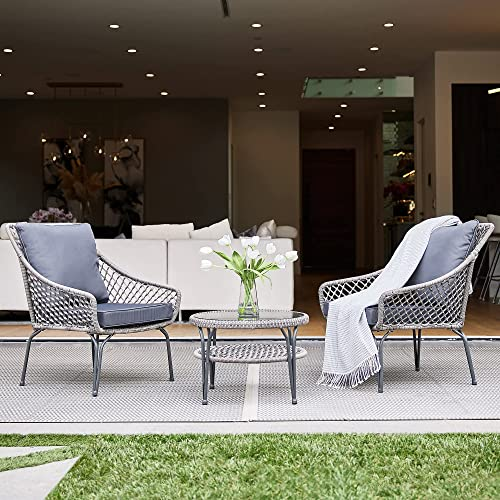 wholesale BELLEZE 3pc sale Outdoor Patio Set Furniture Wicker Round Glass Table outlet sale Backyard Thick Plush Seat Backrest Cushions (2) Chairs, Gray online