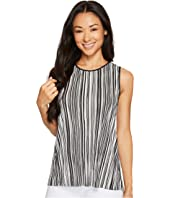 Vince Camuto Specialty Size - Petite Sleeveless Striped Pleated Knit High-Low Top
