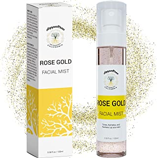 Hydrating Gold Facial Spray Mist with Aloe, Herbs and Rosewater - Alcohol-Free Toner for Face by Doppeltree - Formulated i...