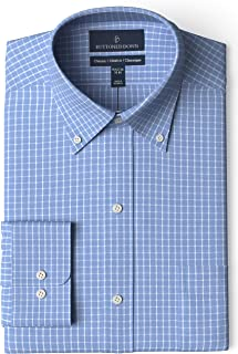 "Buttoned Down Men's Classic Fit Button Collar Pattern Non-Iron Dress Shirt, Blue Check 16"" Neck 36"" Sleeve"
