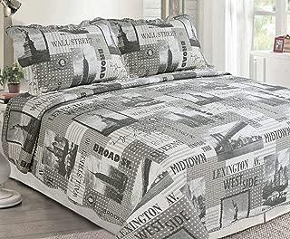 Sapphire Home 3 Piece Queen Size Bedspread Coverlet Quilt Bedding Set w/2 Pillow Shams, New York City Towers Design, Queen XJ2073