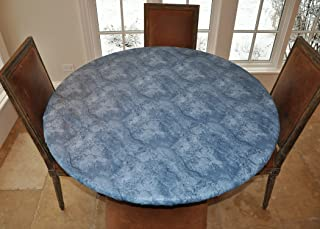 "LAMINET Elite Elastic Edged Print Table Pad - Marble Blue - Small Round - Fits Tables up to 44"" Diameter - The Ultimate Pr..."