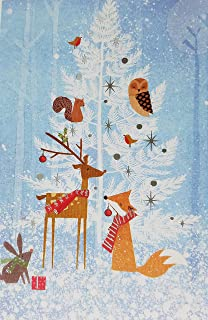 Carlton Cards Holiday Boxed Cards HC 40 Count Deluxe Self-Sealed Envelopes (White Tree With Woodland Animals)