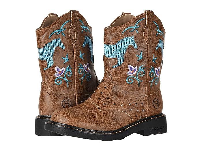 Roper Kids  Horse Flowers (Toddler/Little Kid) (Light Beige/Glitter Cut Out Light Up Chunk) Cowboy Boots