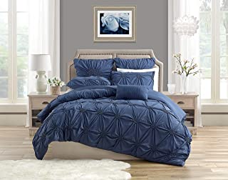 Swift Home Premium Romantic Bedding Set Collection 3-Piece Ruched Pinch Pleat Rosette Floral Pintuck Duvet Cover & Sham Set - Full/Queen, Indigo