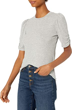 Daily Ritual Amazon Brand Women's Rayon Spandex Fine Rib Gathered-Sleeve Mock Neck Top