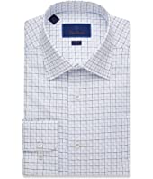 Trim Fit Textured Outlined Check Dress Shirt